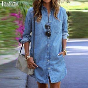 Artı boyutu Denim Elbise Kadınlar Sundress ZANZEA 2020 Günlük Kot Gömlek Elbiseler Kadın Düğme Uzun Kollu Kısa vestidos Robe Femme
