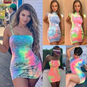 Mini para mujer vestidos de diseñador de ropa de moda de verano Tie-dye vestido sin mangas atractivo del bodycon vestidos clubwear streetwear más tamaño ropa