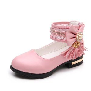 Kids Girls Shoes Bowknot Rhinestone Leather Shoes School Girls Dress Sneakers Spring Autumn Wedding Party Dress Shoe For Girls