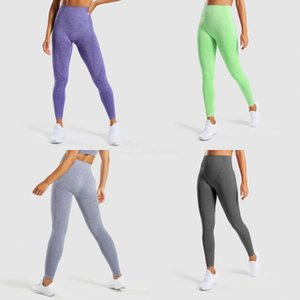 Women Yoga Pants High Waist Solid Color Sports Gym Wear Leggings Elastic Fitness Lady Overall Full Tights Workout#672