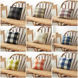Fashion Home Pillow Case Plaid Linen Square Shape Household Sofa Pillow Cover Car Cushion Covers For Indoor Decorations 45*45cm 5 5xa E1