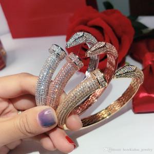 Internet Celebrità Hot vite unghie esercitazione completa Gold Bracelet Bracciali donne dei braccialetti punk per il migliore regalo gioielli di lusso di qualità superiore