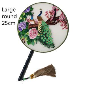 Large 25 centímetros fã redondo Mulberry Silk decorativa Handmade Duplo Suzhou Bordados Fan mão punho Mulheres Luxo Fãs presente chinês