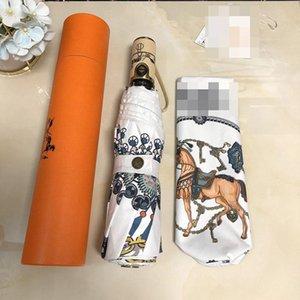 Cute Horse Printed Raining Зонтики Мода Открытых защиты ВС Зонтик для женщин Складного Солнечного зонтик с коробкой