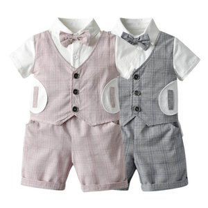 INS Summer gentleman baby boys suits Infant Outfits bows shirt+shorts 2pcs set baby boy clothes baby outfits Newborn Outfits retail B1867