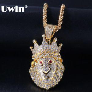 Cadenas UWIN color Corona de Oro cubana Lion colgante de 3 mm de tenis con rojo completo de los ojos hacia fuera helado Cubic Zirconia joyería collar de Hiphop