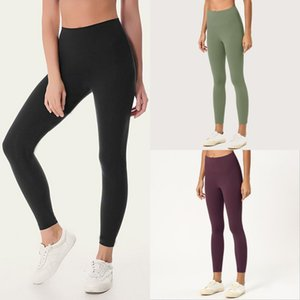 Cor sólida Mulheres Yoga Calças de cintura alta Gym Sports Wear Leggings Elastic aptidão Senhora geral completa calças justas Workout Womens Pants