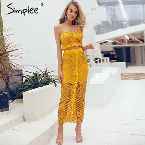 Simplee Hollow BODYCON midi kadın yazlık elbise Nakış iki parçalı eş ord düğmesi dişi sundress Şık tatil vestidos dışarı