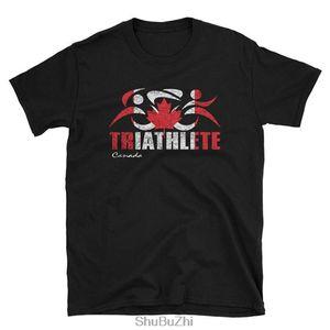Canadá Canadian Flag Triathlon Triathlete Camiseta - Canadian Triathlon Triathlete Diseño - mirada de la vendimia de la camiseta unisex
