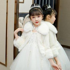 Girls thickened warm fur small coat large velvet long sleeve cloak Warm shawl Cloak shawl flower boy wedding dress waistcoat summer