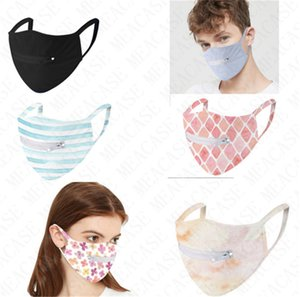 Zipper Beer Bottle Face Mask Reusable Washable Quick Dry Masks Zip Open Flower Striped Grid Cycling Mouth mask Eat Drink In Public D71509