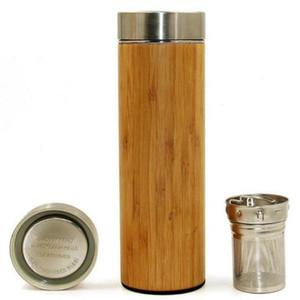 17 once originale di bambù Tumbler con Tea infusore e bottiglia setaccio acqua dell'acciaio inossidabile Double Wall Vacuum Insulated Travel Mug