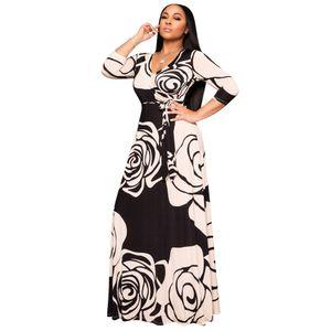 Floral Automne Printemps Femmes Robes manches longues col V Maxi Dress Casual Empire en vrac Fashion Designer Vêtements