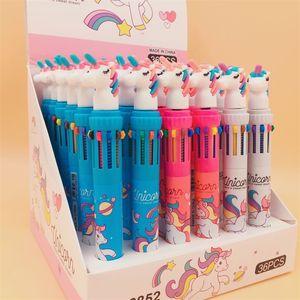 Cartoon Unicorn Ballpoint Colorful Silicone Head School Children Kids Gift Supplies Multicolor Writing 10 Pencil Lead Ball Pens 2 58yx hh
