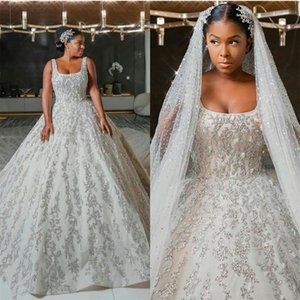 Plus Size Wedding Dresses 2020 New Scoop Neck Lace Beaded African vestidos de novia Luxury Bridal Gowns with Long Train