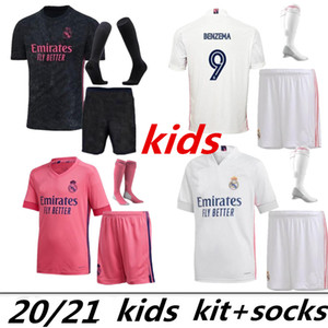 Kit Enfants Soccer Jerseys 2021 Hazard Benzema Camiseta de futbol 2020 2021 Vinicius Rodrygo Moduric Child Shirt Football Hombres Niños