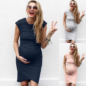 Maternity shirt mom clothes pregnant women summer dress large size 5XL casual solid color maternity dress summer dress