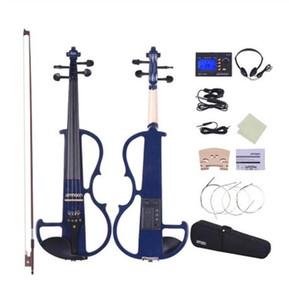 Dimensioni ammoon completa 4/4 di legno solido elettrico Silent Violin Fiddle Style-2 Fingerboard Pioli Mentoniera Cordiera