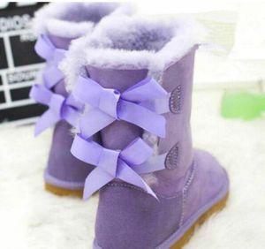 2019 EUR22-43 New Classic Tall Bottes hiver cuir véritable Suede Bailey enfants bowknot enfants femmes Bailey Bow Chaussures Bottes de neige Boot