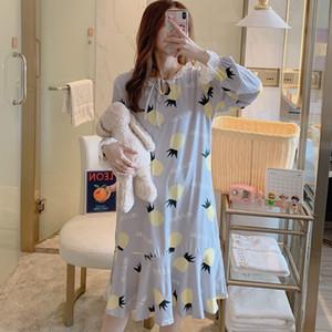 Caiyier 2020 Kış Gecelik Kadınlar Pamuk Tatlı Ananas Baskı pijamalar Uzun Kollu Gevşek Gecelik Casual Kadın Ev Elbise