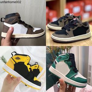 أحذية أطفال أحذية منخفضة ترافيس سكوت كرة السلة 1 العليا OG صبار جاك 1S احذية رياضية المدرب الطفل T NakeskinالأردنRetros أحذية