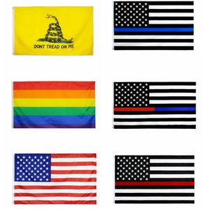 90*150CM USA striped Flags rainbow LGBT gadsden blueline USA Flag American Flag With Brass Grommets 3*5 foot FFA4258