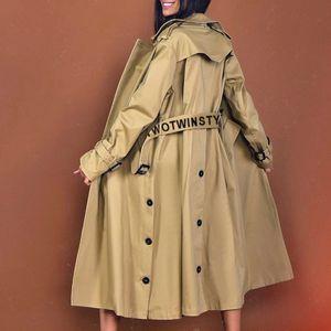 2020 جديد الأزياء البريطانية نمط تصميم نمط اللغة الإنجليزية عارضة فضفاضة سترة واقية معطف أزياء أنيقة سترة واقية معطف المرأة