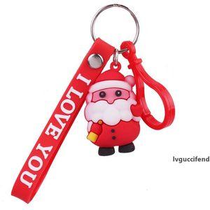 Christmas Keychain Gift Cute 3D Santas Santa Key Chains Merry Christmas Women s Bag & Car Pendant Handbag Key ring Party Favor GGA2879
