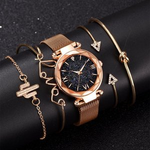 Rose Gold Starry Sky Dial Watches Women Ladies Crystal Bracelet Quartz Wrist Watch 5 PCS Set Relogio Feminino