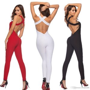 European and American Fitness Clothing Women's One-pieces Sports Suit Set Workout Gym Fitness Jumpsuit Pants Sexy Yoga Set Bandage Gym