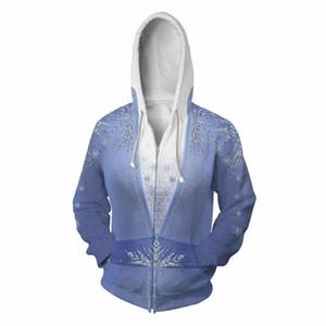 Congelado 2 do traje Hoodie Cosplay Filme roupa com capuz Hoodie Homens Mulher Zipper Costume do macho 3D Brasão Jackets dweP #