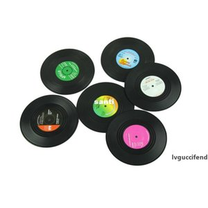 6 Pcs set Home Table Cup Mat Creative Decor Coffee Drink Placemat Spinning Retro Vinyl CD Record Drinks Coasters
