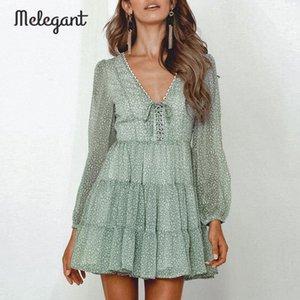 Melegant Uzun Kollu 2019 Sonbahar Kış Elbise Kadınlar Kısa Parti Ruffles Femme Zarif Yeşil Bayanlar Şifon Elbise vestidos 554Z #
