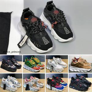Versace chain Reaction New Mens Almofada Running Shoes Esportes autênticos sapatos para homens top sapatos de caminhada ao ar livre Grey Man Training Maxes 36-45