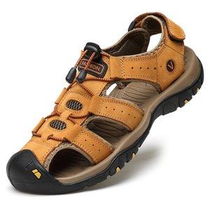 Sandalias de verano suave LEOSOXS Classic Men 's zapatos cómodos de cuero genuino sandalias del tamaño grande suave al aire libre de los hombres romana
