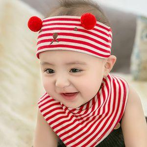 Baby Fashion Newborn Hats Babys Striped Bear Print Cotton Hats Boys and Girls Designer Caps + Triangle Scarf Children 2020 Crochet Hat