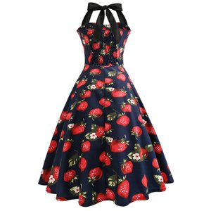 Women Vintage Strawberry Printed Bodycon Dress with spaghetti strap Cocktail Prom Swing party Dress vestidos Wd4