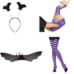 Black Silk Stockings Halloween Purple Fishing Net Gloves Black Purple Jumpsuits Head Buckle Bat Wings Suit New Arrival 22 5hp L1