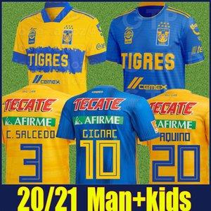 2020 Mexico UANL Tigres calcio Jersey 7 Stelle C.SALCEDO GIGNAC VARGAS PIZARRO Divisa bambini kit Camiseta de Tigres UANL 20/21 Liga MX