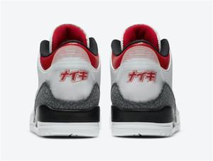 Giappone Esclusivo Hot 3 SE-T DNM Fire Red CZ6433-100 3s NakeskinGiordaniaRetro Mens Basketball Shoes Sneakers Sport con la scatola