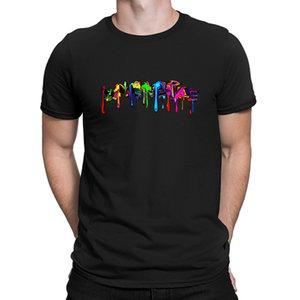Renk Gökkuşağı Graffiti Splash Paint Comics Tişörtlü Boyut Kırışıklık Karşıtı Yeni Moda Kısa Kollu Üzeri Boyutu Tasarımları