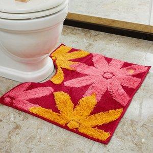 De duas peças conjunto de banheiro Sunflower Set peça padrão em forma de U tapete higiênico pé em forma de U padrão mat girassol vaso sanitário