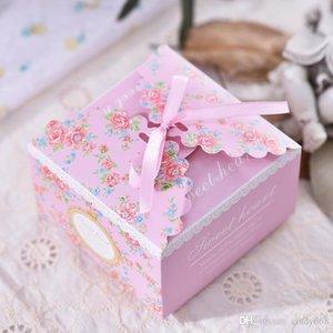 Caja de papel florales para regalos de boda Embalaje 50pcs mucho caramelo Caja de almacenamiento con la cinta 2 colores favores de la boda del caramelo Latas Organizador de almacenamiento