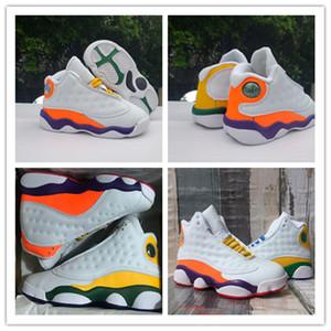 (Con la caja) 13s zapatos de baloncesto de bebé Niños 13 GS infantil blanco de Orang Corte Púrpura Naranja deportes infante de diseño zapatilla de deporte tamaño: 22-47