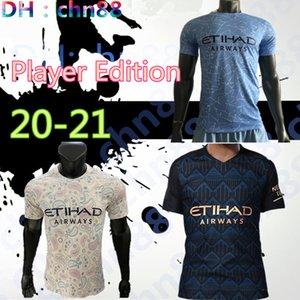 Jugador Edición hombre de Manchester City camiseta de fútbol 2020 2021 G.JESUS Inicio maillot de pie KUN AGUERO mahrez 20 21 STERLING lejos camiseta de fútbol