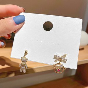 925 silver needle Fashion Cute Full drill bear Zircon Earrings Asymmetry Designs Earrings Small personality Star Jewerly for Party Gift 2020