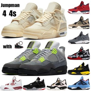 New 4 4s Jumpman Männer Basketball-Schuh-Segel Neon metallic lila rasta Basketball Sneakers IV Schwarze Katze gezüchtet Cool Grey Loyal Blau Trainer