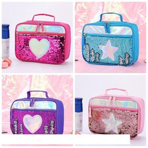 Fashion Sequin Kid Lunch Bag Aluminum Foil Thermal Insulated Lunch Bag Portable Outdoor Picnic Lunch Box Food Storage Tote Box VT0809