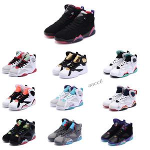 2020 New Kids 7S Баскетбол обувь Кроссовки детские Мальчики Детские Малыш NakeskinJordan 7 Спортивное Спортивная обувь Размер 28-35