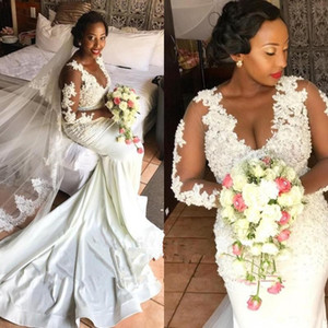 African Mermaid Wedding Dresses With Illusion Long Sleeves Plus Size Wedding Gowns Vestidos de Novia Designer Lace Appliques Bridal Dress